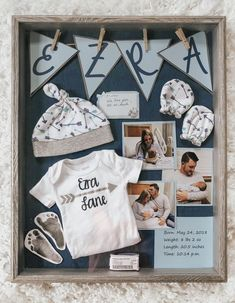 Baby shadowbox - baby keepsakes - baby boy - first outfit - hospital bracelets -... #baby #Boy #bracelets #hospital #keepsakes #outfit #shadowbox #home #decor #ideas #diy decor #house #decoration
