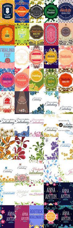 florale Verzierungen und Illustrationen