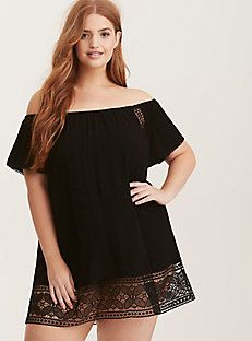 957f91f976 Crochet Inset Off Shoulder Swim Cover Up Plus Size Cover Up