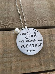 Items similar to With God all things are possible Hand-stamped metal necklace, pearl, Inspirational quote, religious, Christian on Etsy Metal Stamped Bracelet, Hand Stamped Metal, Hand Stamped Necklace, Stamped Spoons, Hand Gestempelt, Metal Engraving, Engraving Ideas, Metal Stamping, Jewelry Stamping