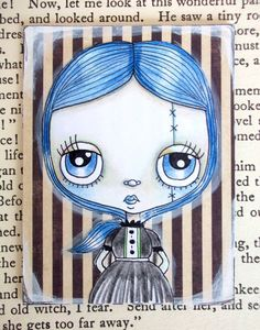Original ACEO Mix Media Zombie Girl by LittleNore on Etsy, £8.00