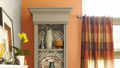 China hutch with pressed tin tiles in back Diy Wood Projects, Home Projects, China Display, Plate Display, Displaying China, Tin Tiles, Woodworking Plans, Woodworking Shop, Youtube Woodworking