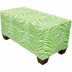 Skyline Furniture Zebra Print Storage Bench, Lime Green
