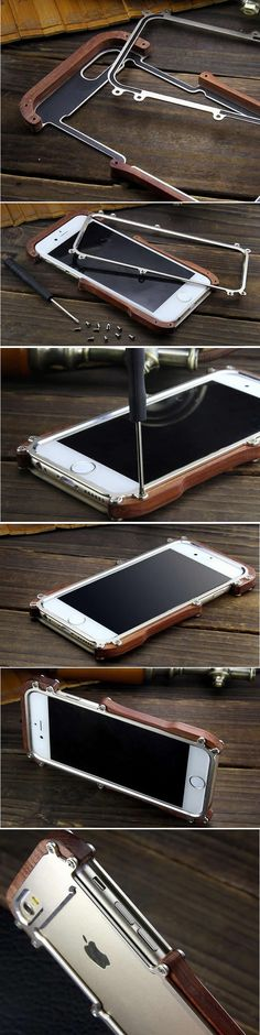 Wooden & Aluminum Metal Bumper Frame Case For iPhone 6/6 Plus/6S/6S Plus