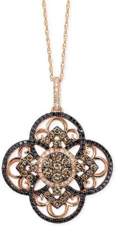 LeVian Le Vian Diamond Clover Pendant Necklace in 14k Rose Gold (7/8 ct. t.w.)