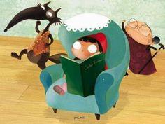 Caputxeta i llop lectos, il·lustració de Paloma Valdivia    Comencem el dilluns llegint, com fan els dos protagonistes d'un del més f...