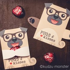 Items similar to Cute Pug Puppy Classroom Candy Holder valentines cute dog individual candy valentine card Valentine's day chocolate heart holders glasses on Etsy Puppy Valentines, Valentines Day Chocolates, Valentine Day Boxes, Valentine Day Crafts, Happy Valentines Day, Cute Pug Puppies, Cute Pugs, Pugs And Kisses, Chocolate Hearts
