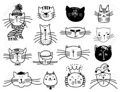 Illustration of Cute cat heads set in hand drawn. Pet animal vector illustration vector art, clipart and stock vectors. Silhouette Clip Art, Silhouette Images, Gato Doodle, Cat Outline, Cat Template, Cat Cards, Caricature, Cats And Kittens, Cute Cats