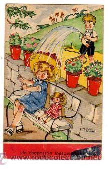 Postal Mari Pepa.  1944  Un chaparrón inesperado