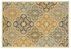 One Kings Lane - Style That Lasts - Palm Outdoor Rug, Ivory/Multi