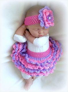 SALE Baby Girl Crochet tutu and Headband set 0 by ParesCreations