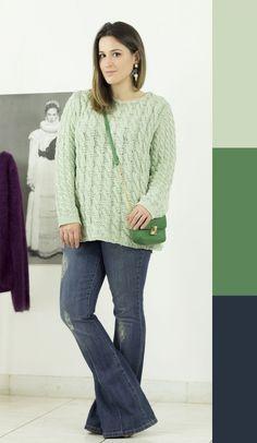 como-combinar-cores-analogas-look-trico-verde-pastel-calca-flare-jeans