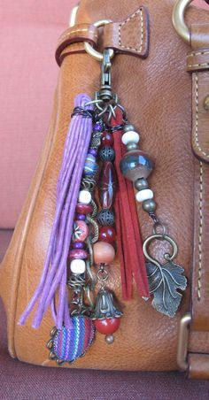 Boho Purse Charm, Charm Tassel, Zipper Pull, Key Chain - Indian Fabric, Lavender, Red, Antiqued Brass, Wood, Ceramic, Stone, Multi-Colored