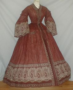 Magical 1860's Brown Print Cotton Dress/Paisley Boarder