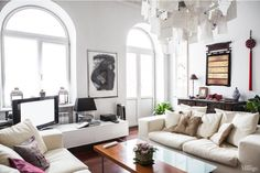 I could live in this space with just the lighting fixture and the windows... Love