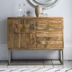 A striking medley of geometric designs and ample storage will ensure the Oscar contemporary sideboard becomes a firm favourite. Handmade from eco friendly mango wood with brass plated iron handles and light antique brass frame to give a retro feel. Handmade Furniture, Unique Furniture, Furniture Design, Furniture Ideas, Sideboard Furniture, Drinks Cabinet, Solid Wood, Art Deco, Storage