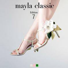 mayla classic Edition7 BouquetRitz「『フラワーガーデンで出会った、フェミニティな架空の花』生き生きとしたリーフで表現されるリボンとシフォンのコサージュ マイクラシックらしい華麗な仕掛けに乙女心をくすぐられそう…強いアイデンティティとドラマチックな魅力 そして繊細でありながら現代的な一面 すべての女性には愛と花の香りが必要だから…」 #sandal #fashion #mayla_classic