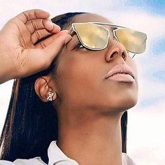 The stunning babe @mylifeasjaye wearing our Luna gold sunnies ✨ #noweekendsbabe