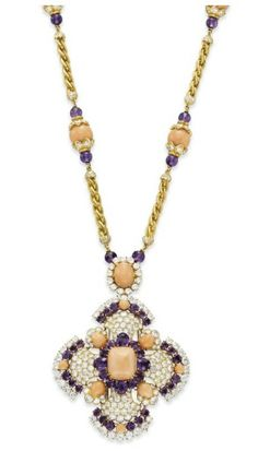 "Elizabeth Taylor's - A CORAL, AMETHYST AND DIAMOND ""IBIZA"" SAUTOIR, BY VAN CLEEF & ARPELS  - Gift from Richard Burton"