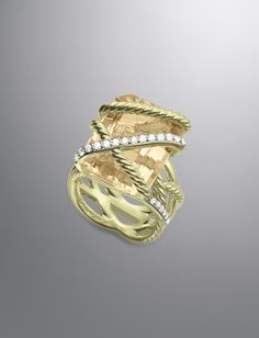 Cable Wrap Ring, Champagne Citrine, 20x15mm
