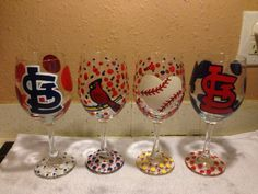 St. Louis Cardinals STL Cards Hand-painted Wine Glasses   on Etsy, $60.00