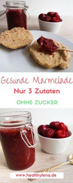 Gesunde Marmelade ohne Zucker - nur 3 Zutaten - das Rezept für ein gesundes Frühstück #rezepte #gesund #brötchen #glutenfrei #vegan #frühstücken #lecker #einfach #schnell