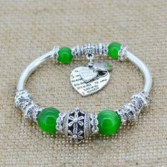 Fashion serling silver jewelry love heart charm bangles & bracelets glass beads strand bracelets for women fine jewelry