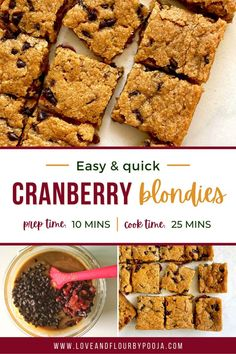 Fudgy, delicious & speckled with cranberries and chocolate chips these eggless Blondies is the easiest one-bowl recipe you can whip up in a matter of minutes. All you need is some kitchen staples like Brown sugar, All purpose flour, Choco-chips, Cranberries etc. You could also add blackcurrants, blueberries or white chocolate chips. Chopped nuts like walnuts, or almonds will pair well too as will a couple tsp of orange zest, cinnamon or instant coffee. Why wait? Go ahead and whip these beauties Choco Chips, White Chocolate Chips, All You Need Is, Eggless Baking, Blondies, Brown Sugar, Baking Recipes, Blueberry, Cooking