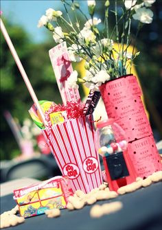 circus party centerpieces: popcorn boxes {Dollar Store} and ticket-wrapped vases Circus Party Foods, Carnival Themed Party, Carnival Birthday Parties, Circus Birthday, Circus Theme, Carousel Birthday, 10th Birthday, Circus Party Centerpieces, Circus Wedding