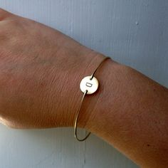 Friendship Bracelet Set 2 Custom Initial Bangles by FrostedWillow, $36.00