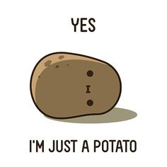 Cartoon Potato, Potato Funny, Cute Potato, Kawaii Potato, Potato Humor, Potato Quotes, Potato Picture, Potato Face, Ceramic Cafe