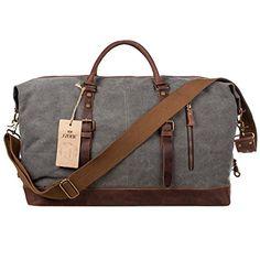 S-ZONE Oversized Canvas Leather Trim Travel Tote Duffel shoulder handbag Weekend Bag (Upgraded Version) ... S-ZONE http://smile.amazon.com/dp/B0107UPA9I/ref=cm_sw_r_pi_dp_iHAtwb0865P1B