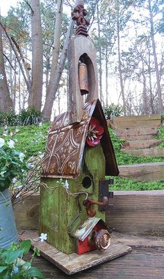 Vintage Wood Birdhouse with Bell