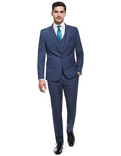 03ce9d179d79 Blue Puppytooth Slim Fit Suit Including Waistcoat Sets Slim Fit Suits