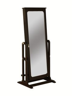 "http://103rdavenue.com/powell-dakota-cheval-jewelry-wardrobe-with-full-length-mirror-antique-black/ Features a full length adjustable mirror that opens to reveal deep luxurious, brown lined jewelry storage compartments.  The full length mirror adjusts to three different angles for dressing or grooming. Convenient jewelry storage for rings, earrings, bracelets, broaches, and accessories. Finished in rich ""Antique Black"" with ""Antique Brass"" finish..."