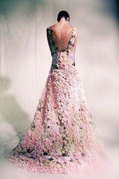 Dress made of flowers.