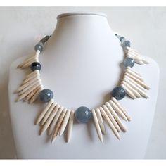 Gray Quartz & Howlite Necklace