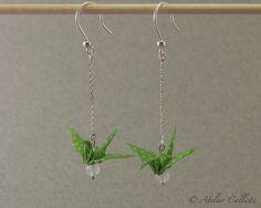 Boucles d'oreilles Origami Grues Vertes Argent 950