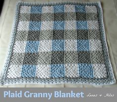 It's amazing what color can do. I love this. PLAID GRANNY BLANKET in Grey/Light Blue/White