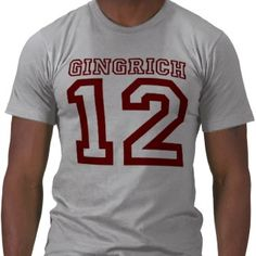 Gingrich '12 For President in Red Tee Shirts