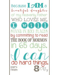 CdotLove Design { by Kristin Clove }: FREE PRINTABLE! Book of Mormon 65 day reading challenge - LDS Young Women