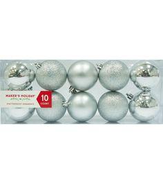 Maker's Holiday 10pk Shatterproof Ornaments-Silver