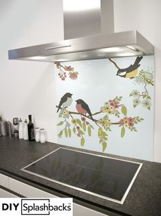 Vintage Bird Design glass splashback. Shop from over 400 designs, or provide your own. All of our splashbacks are: Heat Resistant to 200 degrees, toughened safety glass, available in any size, and all come with a seven year warranty. Visit diysplashbacks.co.uk to discover more.
