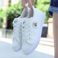 New canvas Shoes Women Casual Shoes Woman Fashion Lace Up White Shoes Woman Flats For Lady's Size Moda Sneakers, Girls Sneakers, Casual Sneakers, Girls Shoes, Sneakers Fashion, Fashion Shoes, Shoes Women, Sneakers Sale, Vans Sneakers