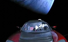 here is a car, in space. Launched by a rocket with reused parts that landed back on Earth by a billionaire who wants to colonize Mars.