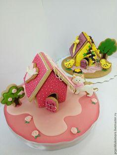 Купить Пряничный домик - комбинированный, подарок, сувенир, пряничное тесто, глазурь