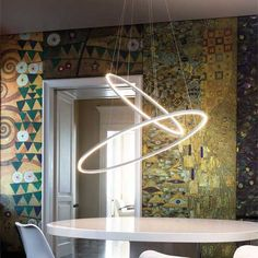 Ellisse Double Pendant by Nemo LED pendant lamp, available in three versions: major, minor and double, widespread direct or indirect lighting Extruded Aluminum, Aluminium, Interior Lighting, Modern Lighting, Pendant Lamp, Pendant Lighting, Nemo, Indirect Lighting, Modern Spaces