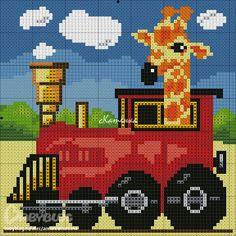 giraffe train cross stitch