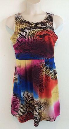 0x VALERIE BERTINELLI Multi Color Rainbow Snakeskin Print Scuba Dress 14 #ValerieBertinelli #Sundress #Casual
