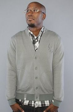 @Andy Campbell- LRG The Name Dropper Cardigan in Charcoal,Sweaters for Men